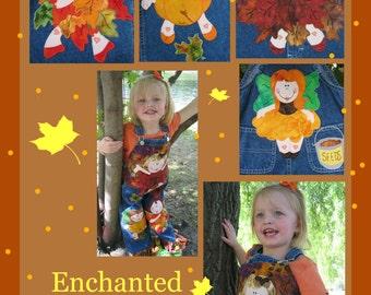 Enchanted Autmn fairies Digital applique pattern for sewing