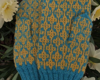 Finely Hand Knitted Estonian Mittens in Yellow and Blue - warm and windproof