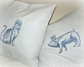 French/ cat/ blue and white/ stripes/ embroidered/ pillow cover