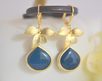 SALE Gold Orchid and Navy Blue Stone Drop Earrings. Turquoise Dangle Earrings. Bridesmaid Earrings. Jewelry Gift for Her.  Christmas Gift.