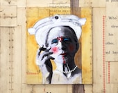 """Pearl Necklace: mixed media collage painting Duchamp Dada 11""""x14"""""""