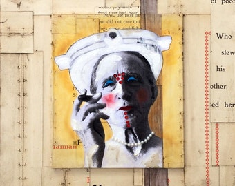 "Pearl Necklace: mixed media collage painting Duchamp Dada 11""x14"""