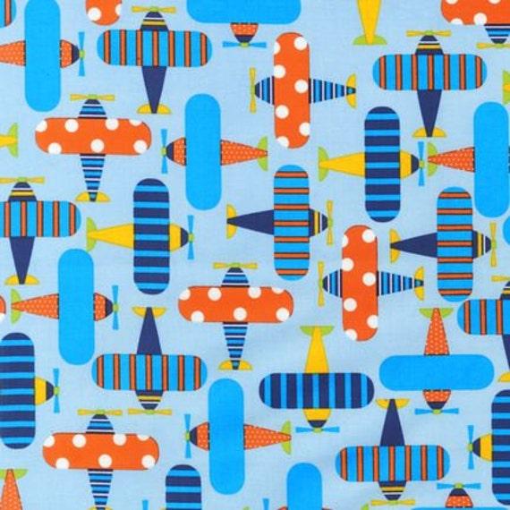 Airplane fabric ready set go sky boys fabric robert kaufman for Airplane print cotton fabric