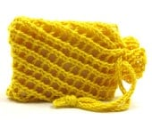 Sunny Yellow Soap Holder Drawstring Pouch Cotton Knit Soap Saver Spa Wash Cloth Soap Cozy