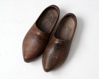 antique wood clogs, Dutch wooden shoes