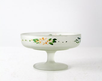 frosted glass candy dish, painted satin glass pedestal bowl