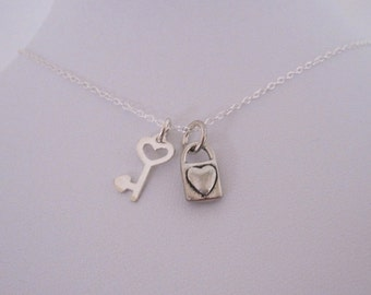 Heart LOCK PADLOCK and Heart KEY sterling silver charms with necklace, minimalistic necklace jewelry