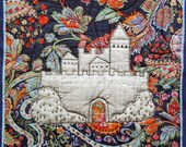 Silver Castle wall art, red blue background, textile art, wall hanging, modern art, castle banner, home decor, floral silk, blue wool