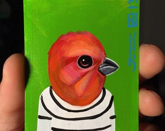 Common Rosefinch portrait on a playing cards. Original acrylic painting. 2012