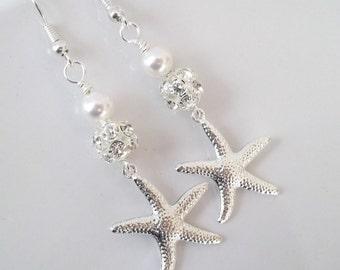 Starfish Earrings,Beach Nautical Jewelry,Destination Wedding Jewelry,Bridal Starfish Earrings,Silver Starfish,Rhinestone Starfish Earrings