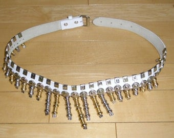 """Vintage Belt - 1980s Glam Rock Belt - Woman's White Leather Belt, Silver Tone and Gold Tone Metal Dangles, 32"""" Long x 1"""" Wide"""