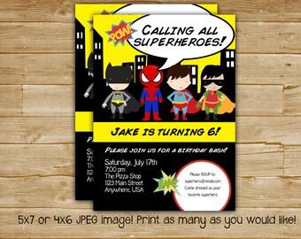 Superhero Birthday Invitation , Superhero Birthday Invite , Super Hero