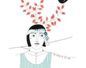 Original drawing of woman, Ink art, Woman and bird, Black bird art, Original bird illustration, Nature art, Graphic art, Ink illustration,