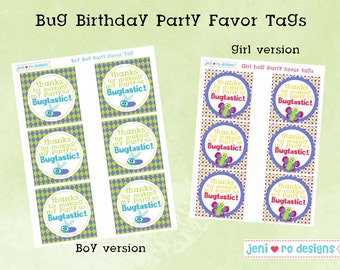 Bug Birthday Party printable Favor Tags