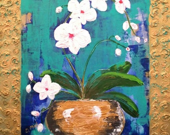 Forever Blooming Orchids . Contemporary Original Painting on Wood Panel   . Flowers Art . Wall Decor Art  Flowers Texture  Farmhouse  Art .
