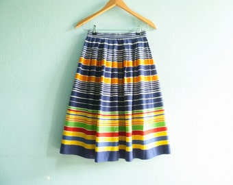 Vintage summer skirt stripes striped / multicolor blue orange yellow green red / high waist / midi / knee length / extra small