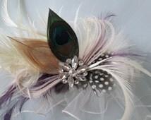 Peacock Bridal Garter, Couture Luxury Garter, Millinery Feather Wedding Garters, Roaring 20s Flapper Inspiration Wedding