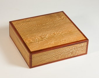 Small jewelry box crafted of sycamore and padauk