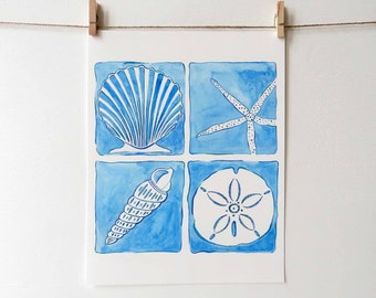 Seashell beach art print with four seashells, perfect for a beach vacation home, coastal home, beach cottage, or beach themed gifts