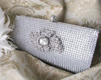 Rich Silver Satin Fabric Wedding Bag Clutch Formal Evening Bag with Loads of Austrian Crystals