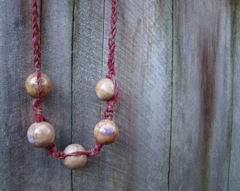Unique Red Hemo Necklace, Large Polished Clay Beads