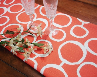 Table Runner. Orange Table Runner. Wedding Decorations. Home Decor. Bright Fun Dots.Table Cloth