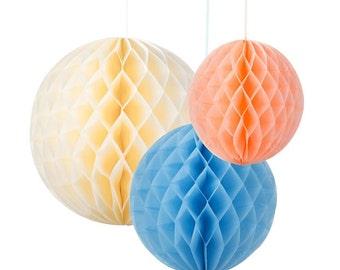 Mixed Pink Honeycomb Balls in 3 Sizes Weddings. summer parties. Bridal Showers Birthdays.Pink Honeycomb Balls