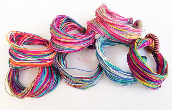 Swim and Surf Bracelet with Multicolor Waxed Cords