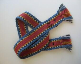 "hand-woven wool ""F"" mandolin strap"