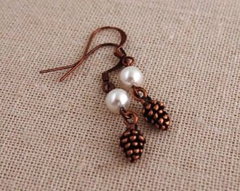 Copper and Pearl Pine Cone Earrings