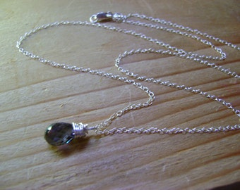 Denim Blue Spinel Briolette Wire Wrapped Sterling Silver Necklace