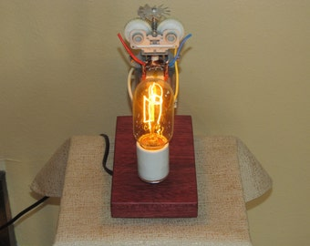Found Metal Artifact Lamp 124 With Vintage Style Light Bulb  FP