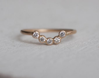 Diamond Curve Band Solid 14k Recycled Gold | Diamond Curve Wedding Ring 14k Gold