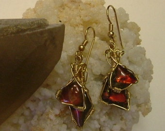 Bright Red  w/ Chromatic Color Shift to Green Ammolite from Utah Deposit Pebble Double Dangle Earrings Wire Wrapped in Gold Filled Wire 314