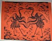 Wood block print 4655, signed, cranes