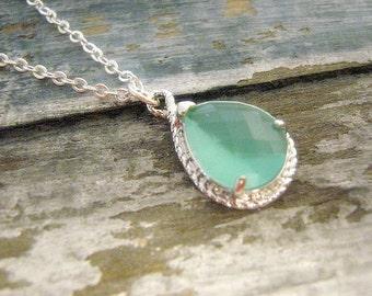 Mint Teardrop Necklace / Drop Necklace / Sterling Silver / Sea Glass / Mint Blue Green / Beach / Nautical / Jewelry / 925 / Set / Gift