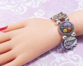 Vintage Silver Stretch Charm Bracelet - BUT-82 - Silver Butterfly Charm Bracelet - Silver Butterfly Bracelet - Stretch Silver Bracelet