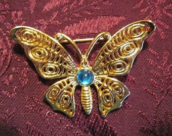 Vintage Victorian Style Gold Filigree Butterfly Brooch - BUT-69 - Gold Filigree Brooch - BR-012