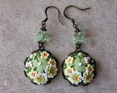 Lovely Polymer Clay Floral Applique Earrings in Spring Greens