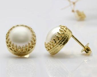 post earrings,freshwater pearl earrings,bridal earrings,pearl wedding earrings,gold earrings