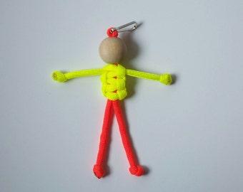 Stocking Stuffer 550 Paracord Person Neon Yellow and Orange, Geocaching Swag, Fun Zipper Pull