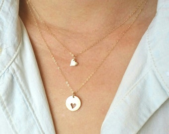 Mother Daughter Heart Necklace, Gold Heart Cutout Necklace, Bronze Round Heart Cutout Necklace, gift set for mother and daughter