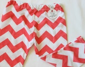 Coral and White Chevron Baby Girl, Knit Leggings Pants Pink, Orange