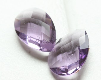 2 Pieces / Hand Cutted Teardrop / No Hole / Crystal Glass / Amethyst 14.15x10.10mm (3005C-S-181)