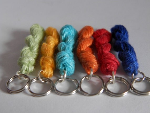 Knitting Goddess Mini Skeins : Knitting stitch markers mini skein linen yarn key