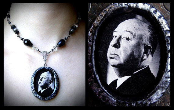 Alfred Hitchcock, polymer clay pendant, horror film, director, glass beaded, black, white, dark, macabre, gothic, spooky, hollywood, film