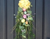 Easter Wreath Eggs Spring Wreath Summer Wreath Fall Wreath Twig Grapevine Door Wreath Decor Natural Twig Moss Floral Swag Yellow Hydrangea