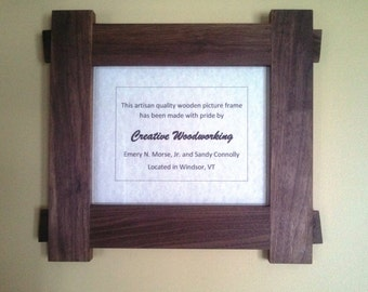 Handmade Picture Frame, Walnut Wood with Mortise & Tenon Joinery, 8x10
