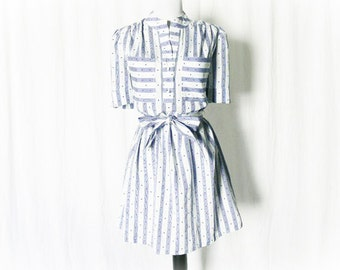 Vintage 80s Striped Mini Dress L XL Belted Blue White Upcycled Polka Dot