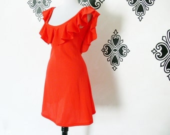 Vintage 60s Neon Red Ruffled Backless Mini Dress S Upcycled Flared